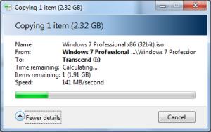 Kecepatan Transfer Data Ukuran 2,3 GB di Windows 7
