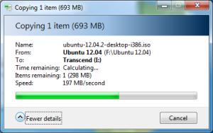 Kecepatan Transfer Data Ukuran 600 MB di Windows 7
